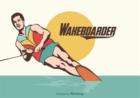 wake boat vector free wakeboarder vector illustration download free
