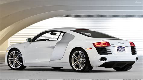 white audi r8 wallpaper side back pose of audi r8 in white wallpaper
