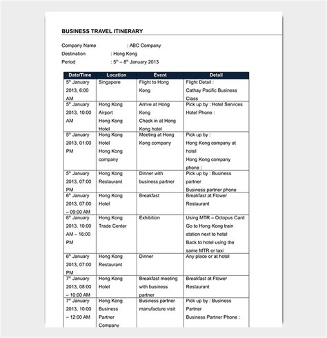 Business Travel Itinerary Template 23 Word Excel Pdf Travel Itinerary Template