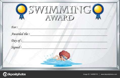 swimming certificates templates certificate template for swimming award stock vector