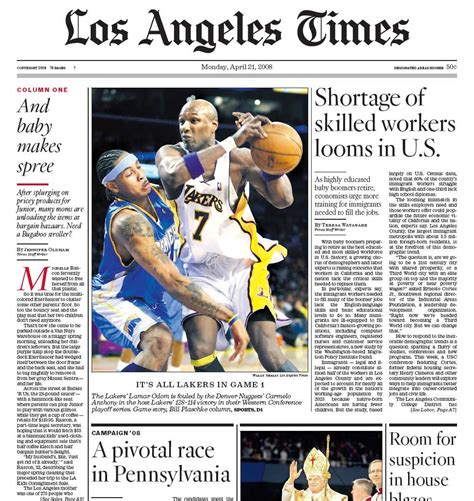image gallery los angeles times newspaper