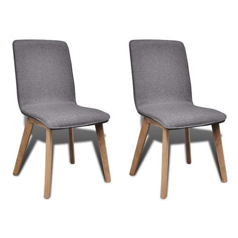 Grey Dining Chair Set Of 2 Gray Fabric Oak Dining Chair Indoor Vidaxl