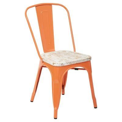 white metal chairs target bristow orange frame metal chair with vintage wood seat