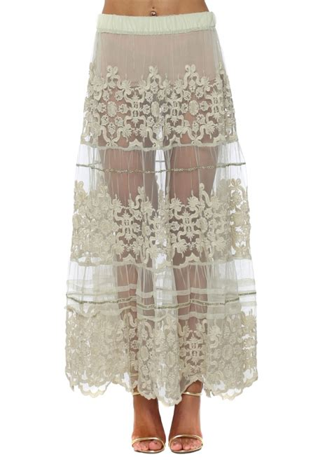 antica sartoria green lace maxi skirt