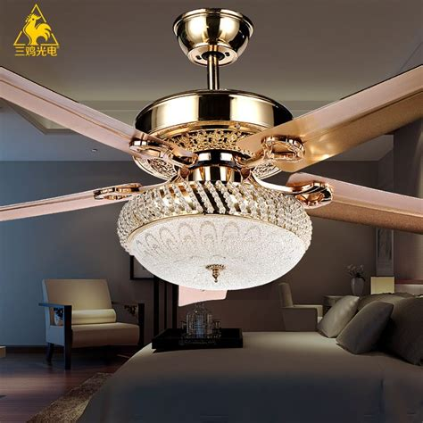 bedroom chandeliers with fans three chicken photoelectric luxury decorative crystal