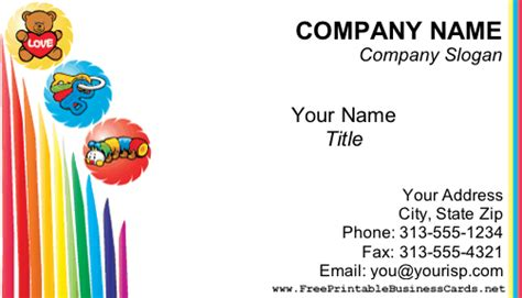 childcare business cards templates child care business card
