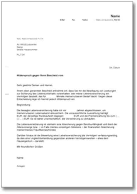 Musterbrief Widerspruch Dynamik Lebensversicherung Widerspruch Bei Der Arge De Musterbrief