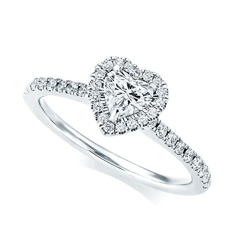 berry s platinum heart shape diamond surround engagement