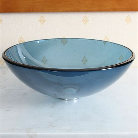 Vessel Glass Sink by New Bathroom Clear Blue Tempered Glass Vessel Sink Basin
