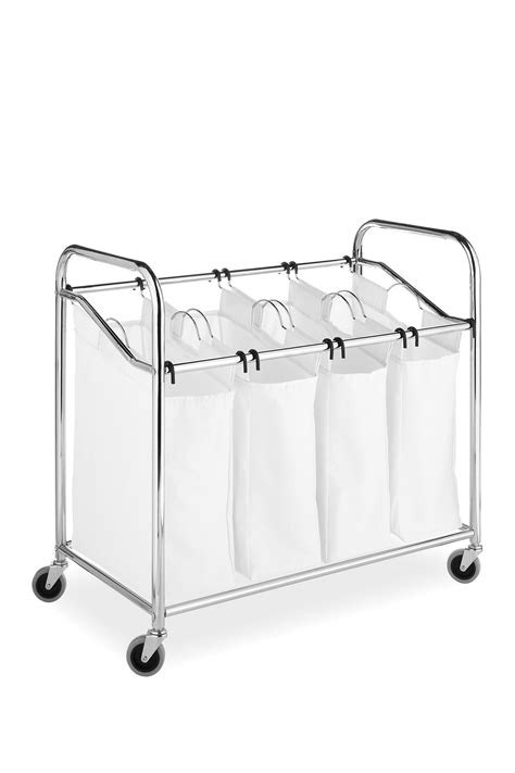 laundry sorter 4 section whitmor chrome canvas 4 section laundry sorter