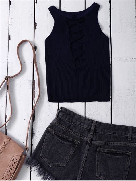Lace Up Cropped Tank Top 2018 cropped lace up sweater tank top in purplish blue one