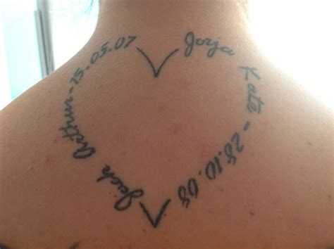 heart tattoo with names designs shape with my name and birth date