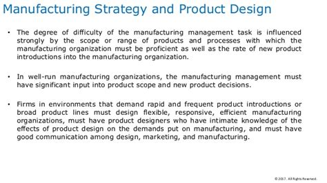 manufacturing layout strategy manufacturing strategy and its impact on product and