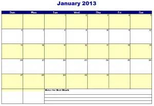 Electronic Calendar Template by 2013 Monthly Calendar Template Free Layout Format