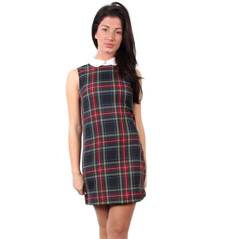 Tartania Dress tartan dress with white collar parisia fashion