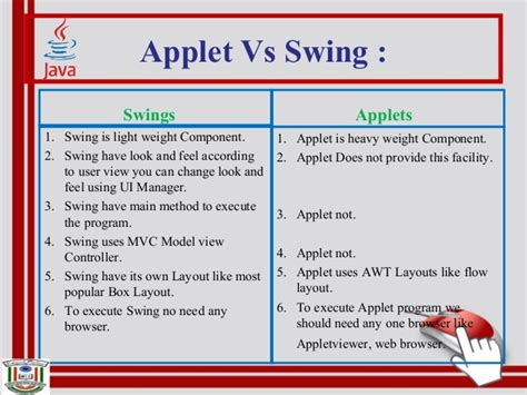 difference between swing and applet java applets