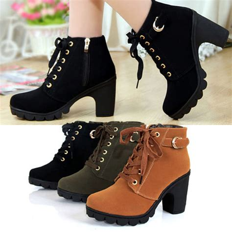 high top high heels high top heel lace up buckle ankle boots winter