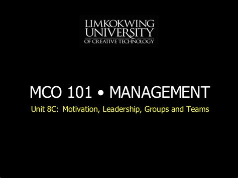 How Many Units In An Mba by Mba Mco101 Unit 8 C Lecture 9 200806 Xx