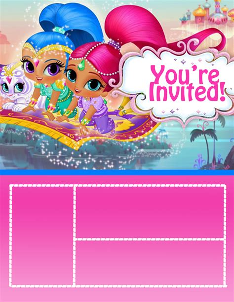 Shimmer And Shine Invite Violetconfetti Shimmer And Shine Invitations Templates