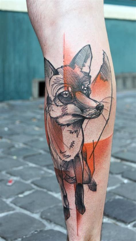 watercolor tattoo wellington collection of 25 watercolor fox and animal tattoos on thigh