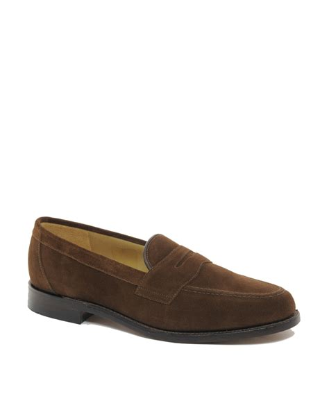 loake loafers loake eton suede loafers in brown for lyst