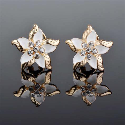 Engagement Earrings by Clear Rhinestone Gem Earrings Enamel Flower