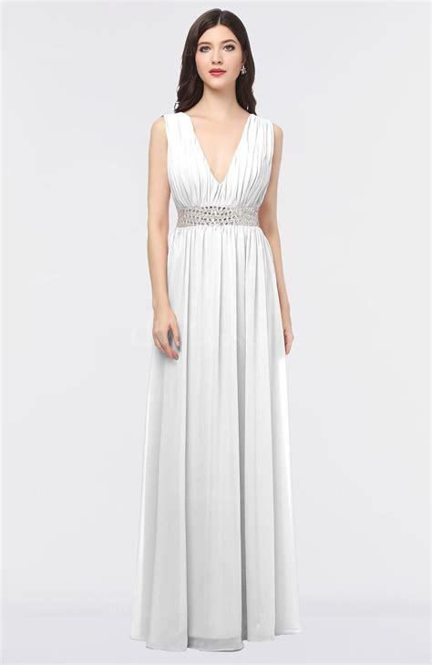 Plain V Neck A Line Dress white plain a line v neck sleeveless floor length