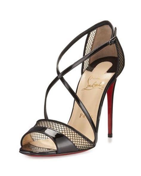 x2zfl christian louboutin slikova patent mesh sole sandal black shoes christian louboutin