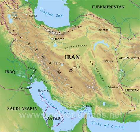 map or iran iran map physical map pictures
