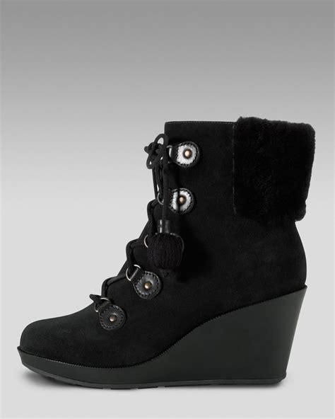 cole haan air tali waterproof shearling boot in black lyst