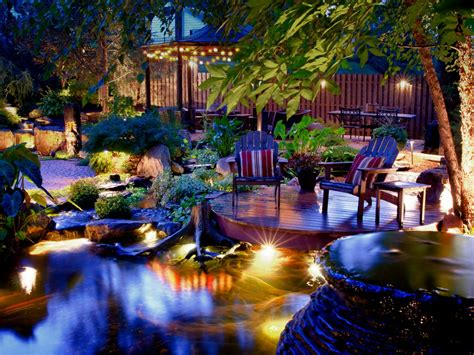 Colored Landscape Lights Outdoor Ponds Water Features And Water Gardens Diy Landscaping Landscape Design Ideas
