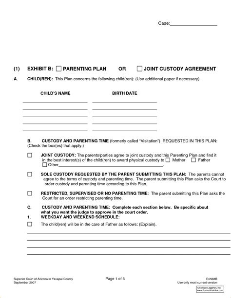 joint custody parenting plan template joint custody agreement forms 111154767 png pay stub