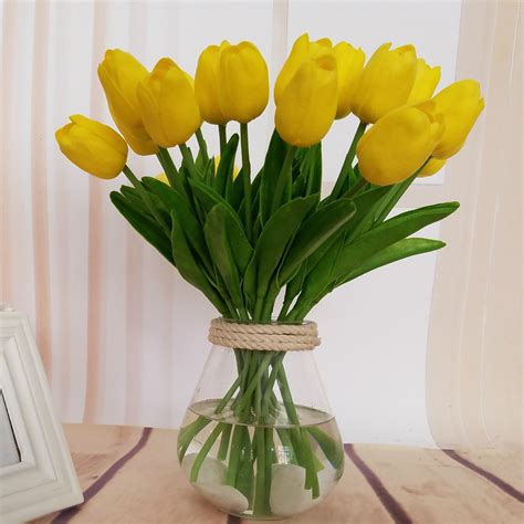 artificial flower decoration for home single branch mini tulip artificial flowers fake flower