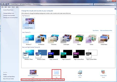 theme windows 7 vire window color and appearance enable or disable change
