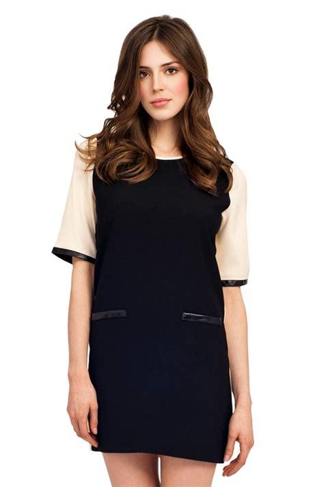 Zes Minori Tunik Black Dress Tunik black contrast 3 4 sleeve tunic dress