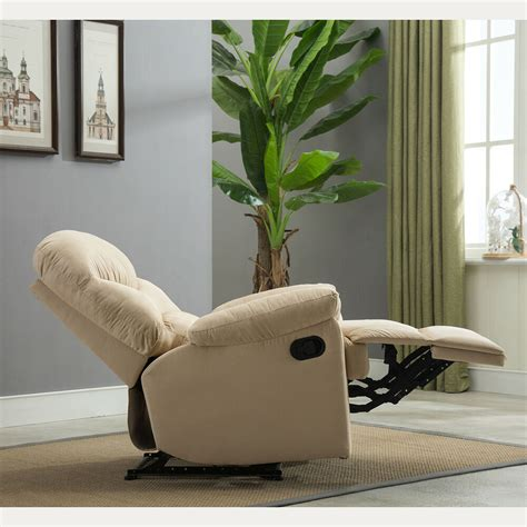 chair for room plush recliner livingroom reclining chair cave tv living room beige brown ebay