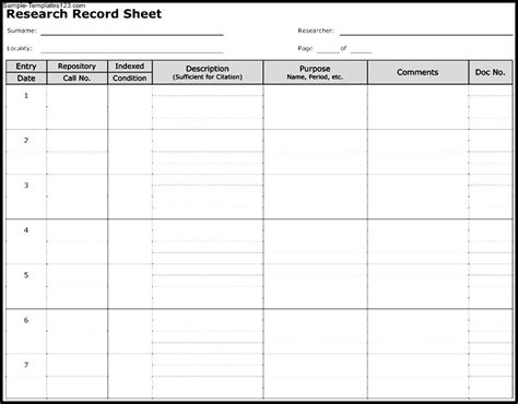 on the record template research record sheet template sle templates sle