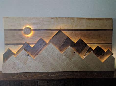 wood mountain range wall art sunmoon functions