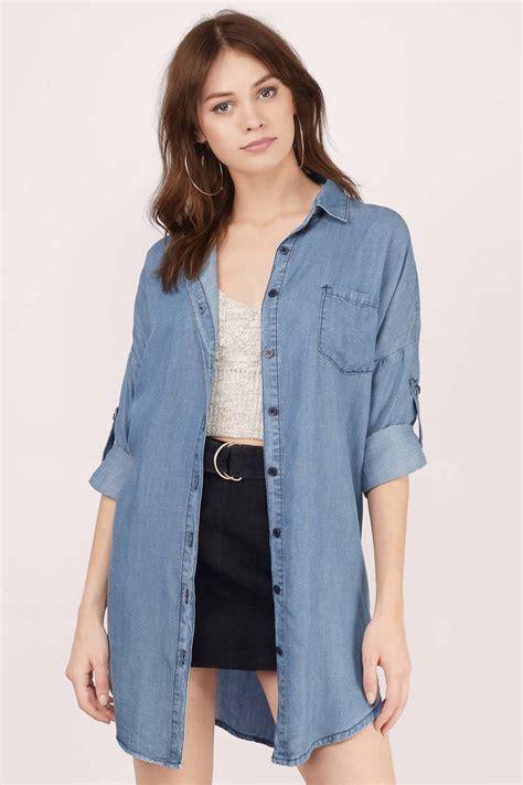 Mix Denim Oversized Shirt halen oversized denim shirt 76 00 tobi