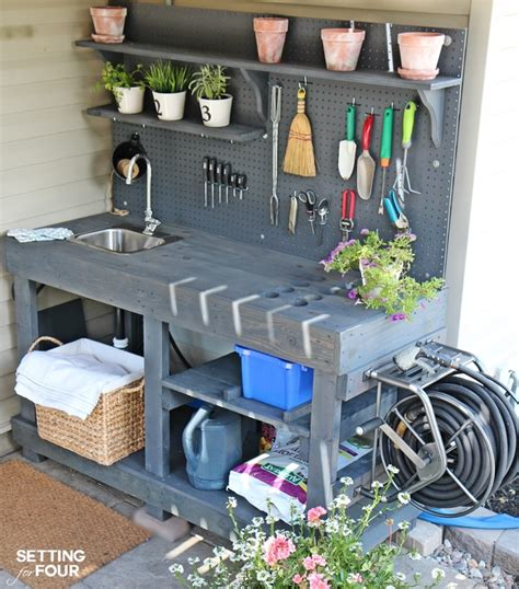 diy potting bench plans make it diy potting bench with sink setting for four
