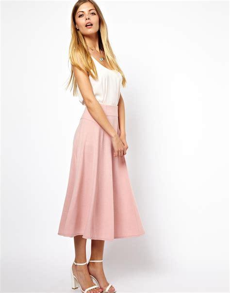 Rok Midi Pink Cherry asos midi skirt with stitch waist detail in pink lyst