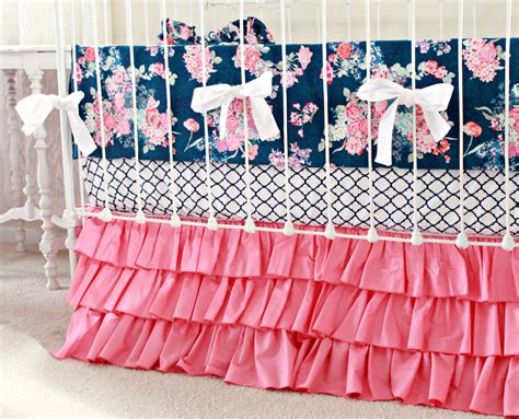pink and blue crib bedding hot pink and navy baby girl bedding custom crib bedding navy