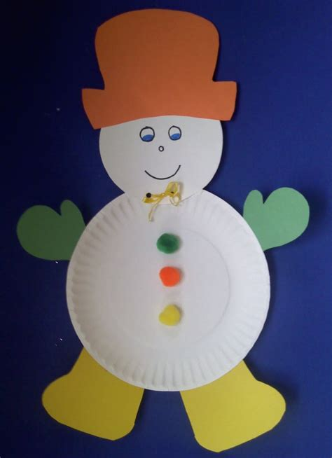 Snowman Paper Plate Craft - crafts for preschoolers winter crafts
