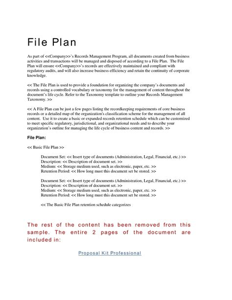 28 records management file plan template professional