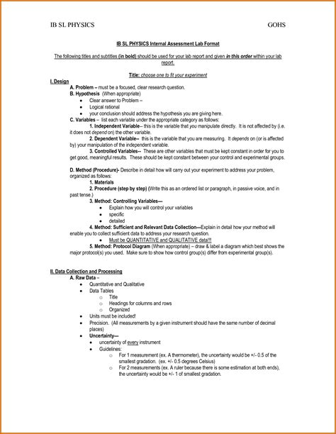 biology lab report template 4 ib chemistry lab report exle lease template