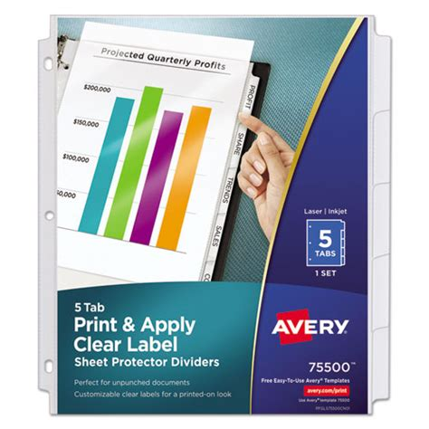 Index Maker Print Apply Clear Label Sheet Protector Dividers 5 Tab Letter Office Supply King Avery Clear Label Dividers 5 Tab Template 11446