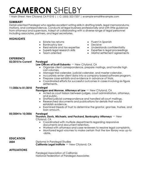 paralegal resume sample internships com