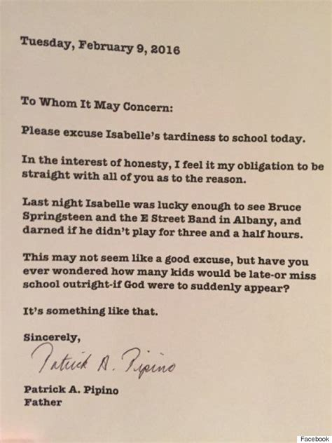 Excuse Letter For New Year Blames Late Bruce Springsteen Concert For S Lateness In Hilarious School Note