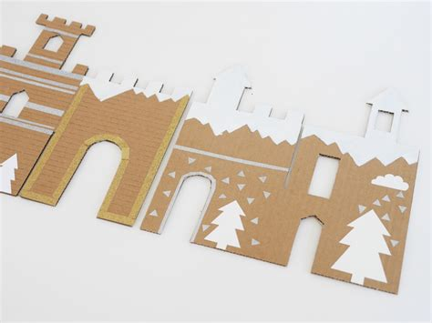 cardboard template diy and free printable winter cardboard castle