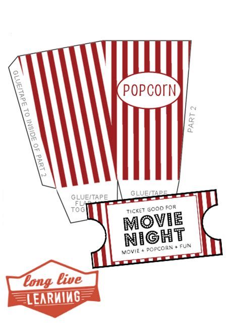 printable gift tickets movie night pack popcorn boxes ticket template